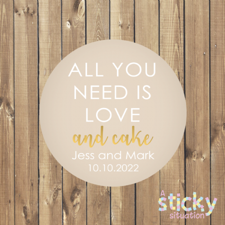 Personalised 'All you need is love and cake' Wedding Cake Stickers